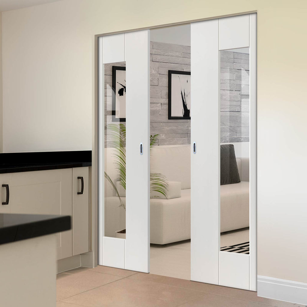 Axis Absolute Evokit Double Pocket Doors - Clear Glass - White Primed
