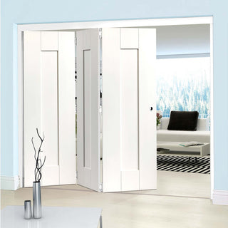 Image: Thrufold Axis White Panelled 3+0 Folding Door