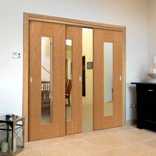 Image: Thruslide Symmetry Axis Oak Shaker 3 Sliding Doors and Frame Kit - Clear Glass - Prefinished