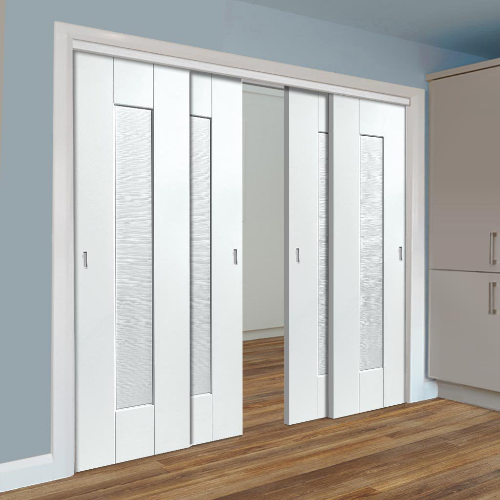 Four Sliding Doors and Frame Kit - Axis Ripple White Primed Door