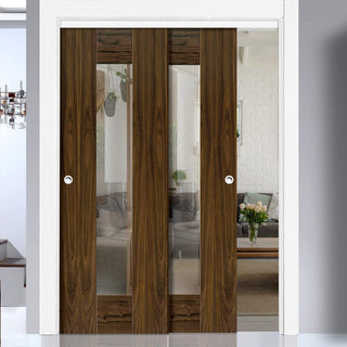 Image: Two Sliding Doors and Frame Kit - Axis Walnut Shaker Door - Clear Glass - Prefinished