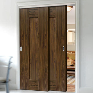 Image: Two Sliding Doors and Frame Kit - Axis Walnut Shaker Door - Prefinished