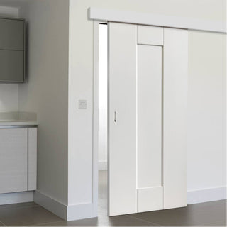Image: Thruslide Surface Symmetry Axis White Primed Sliding Door and Track Kit