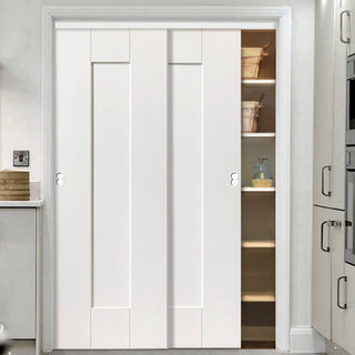 Image: Thruslide Symmetry Axis White Primed 2 Door Wardrobe and Frame Kit