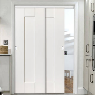 Image: Two Sliding Doors and Frame Kit - Axis White Primed Door