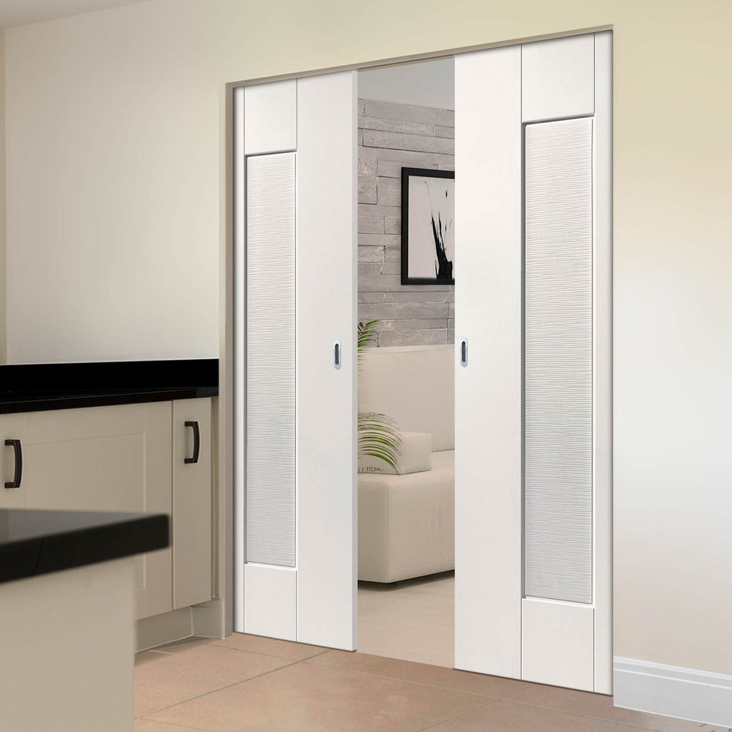 Axis Ripple Absolute Evokit Double Pocket Doors - White Primed