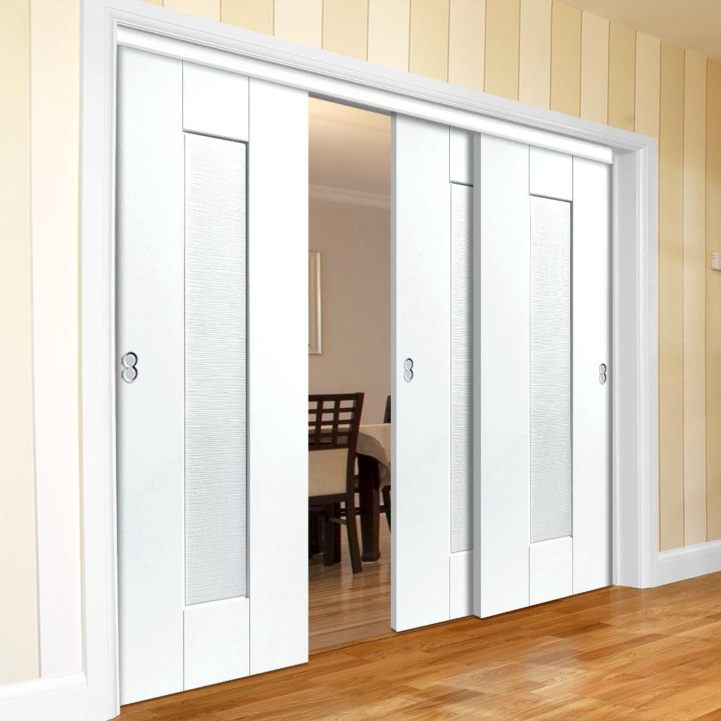 Three Sliding Doors and Frame Kit - Axis Ripple White Primed Door