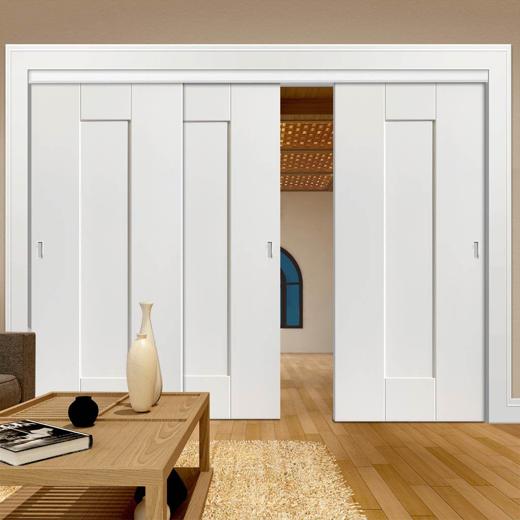 Three Sliding Doors and Frame Kit - Axis White Primed Door