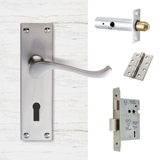 Image: External DL54 Victorian Scroll Lever Back Door Handle Pack - Chrome Finish