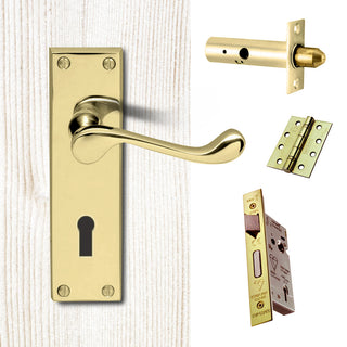 Image: External DL54 Victorian Scroll Lever Back Door Handle Pack - Brass Finish