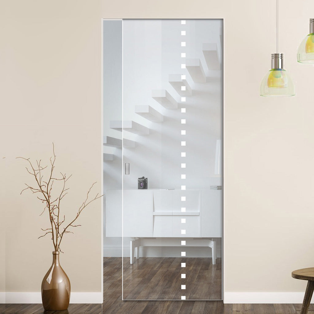Balerno 8mm Clear Glass - Obscure Printed Design - Single Absolute Pocket Door