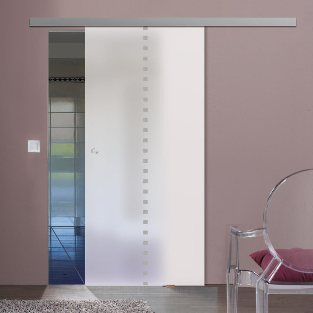 Single Glass Sliding Door - Balerno 8mm Obscure Glass - Obscure Printed Design - Planeo 60 Pro Kit