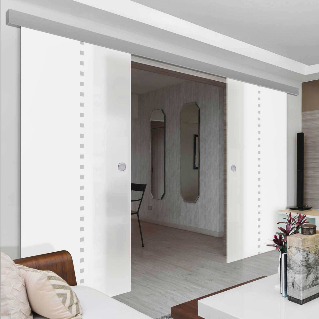Double Glass Sliding Door - Balerno 8mm Obscure Glass - Obscure Printed Design - Planeo 60 Pro Kit