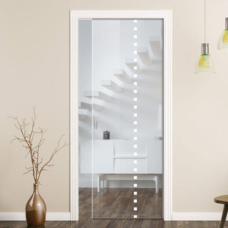 Image: Balerno 8mm Clear Glass - Obscure Printed Design - Single Evokit Glass Pocket Door