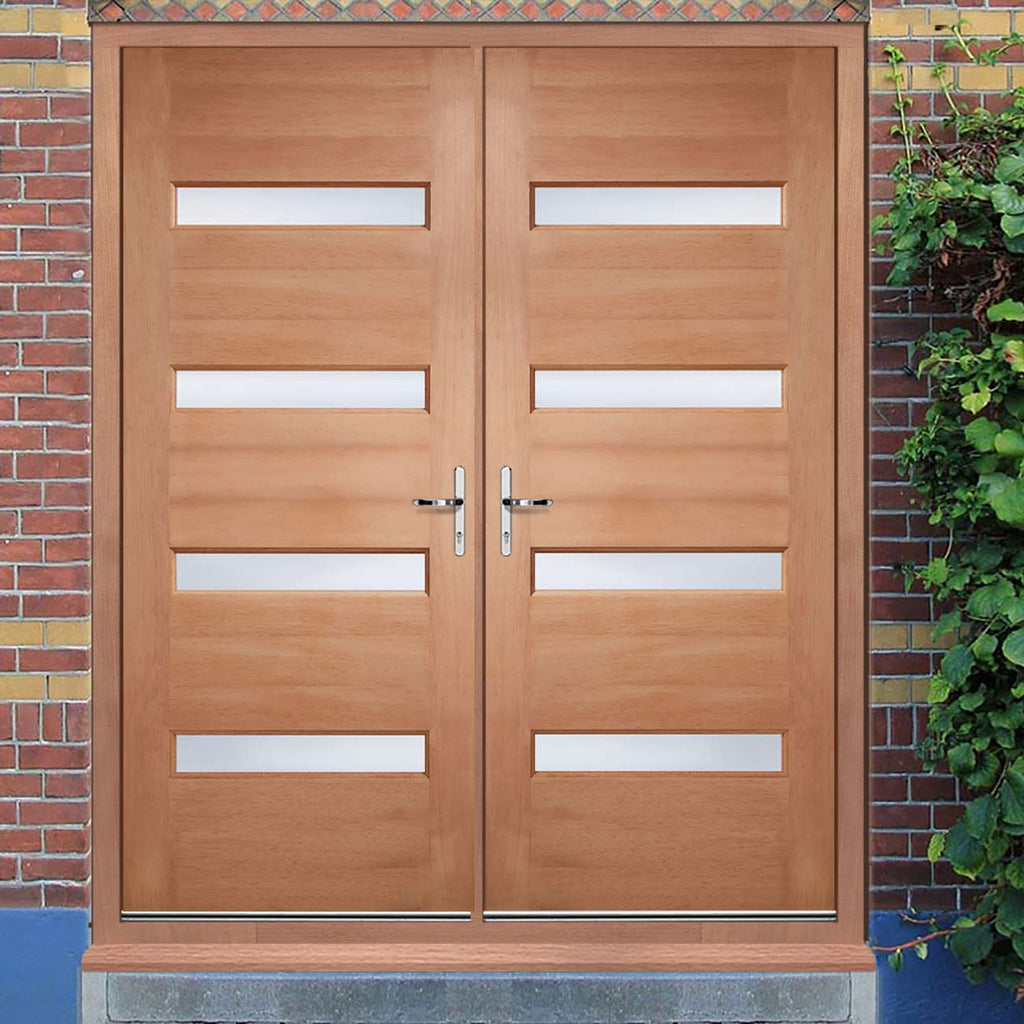 Balham Hardwood Double Door and Frame Set - Frosted Toughened Double Glazing, From LPD Joinery