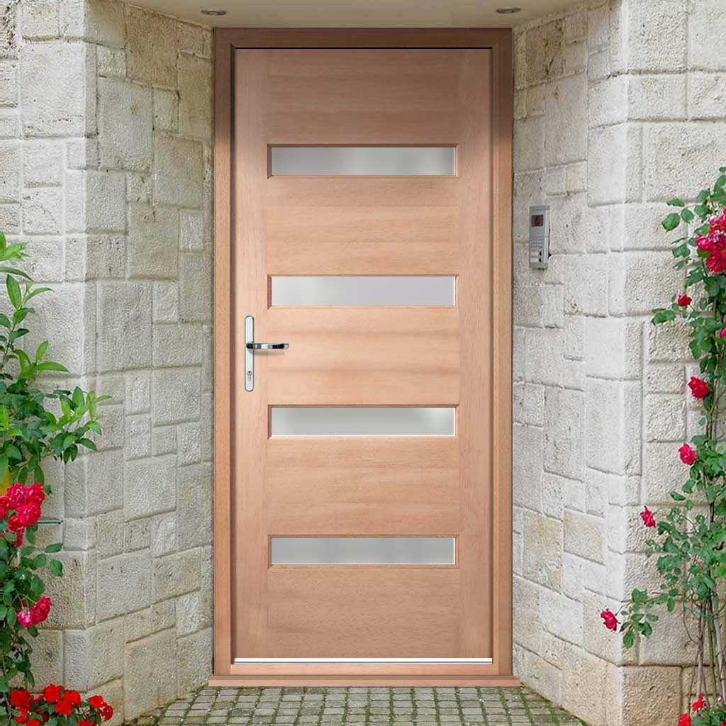 Balham External Hardwood Door and Frame Set - Frosted Double Glazing, From LPD Joinery