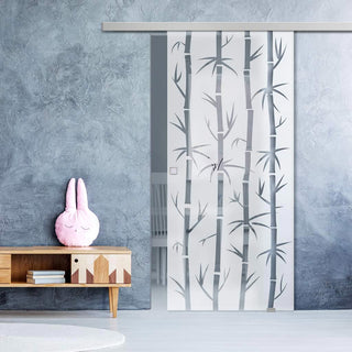 Image: Single Glass Sliding Door - Bamboo 8mm Obscure Glass - Clear Printed Design with Premium Track