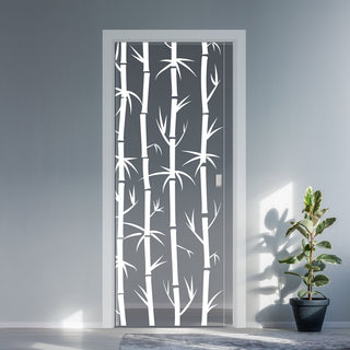 Image: Bamboo 8mm Clear Glass - Obscure Printed Design - Single Evokit Glass Pocket Door
