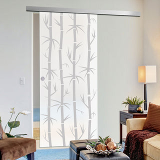 Image: Single Glass Sliding Door - Bamboo 8mm Obscure Glass - Obscure Printed Design with Premium Track