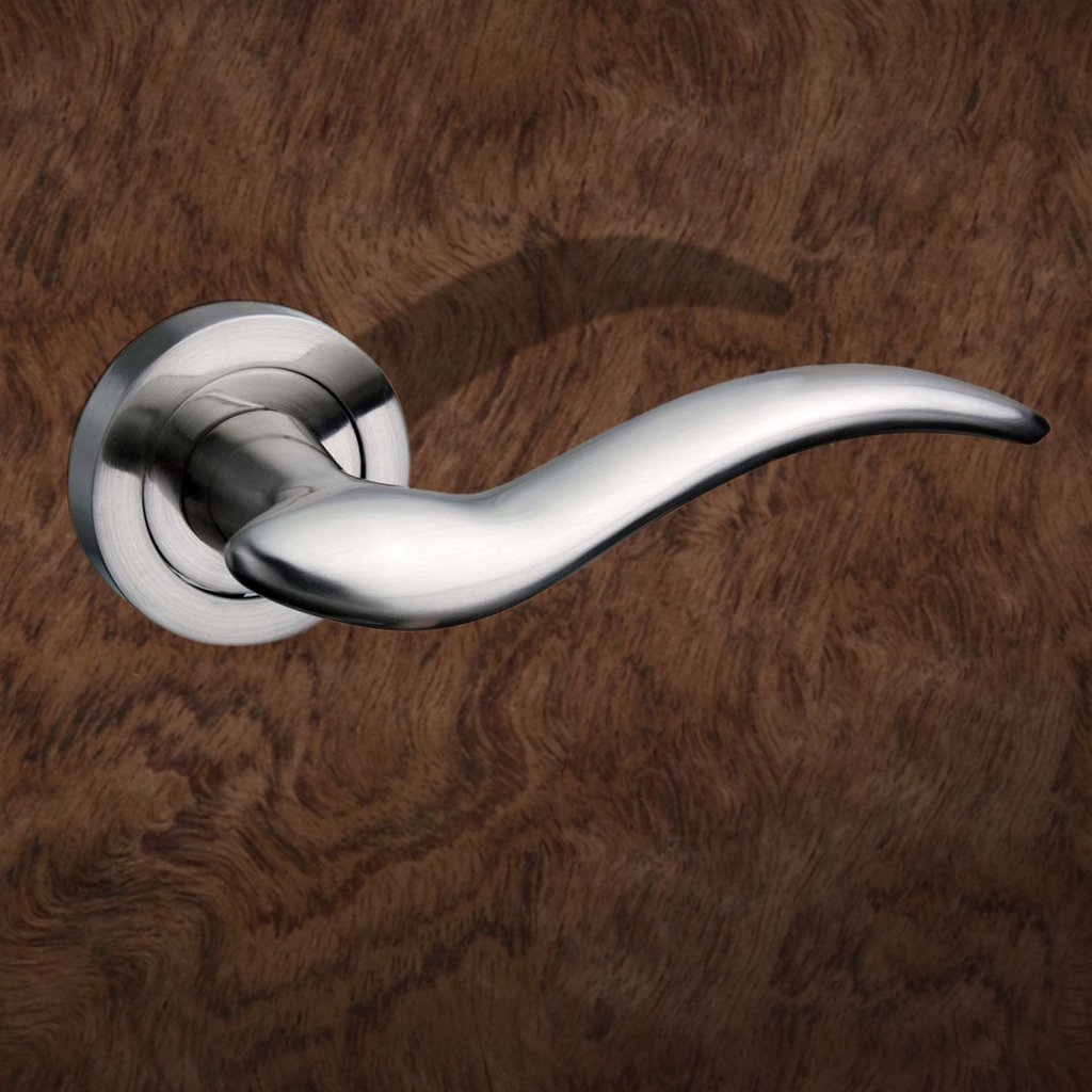 Barcelona Mediterranean Lever On Rose - Satin Nickel