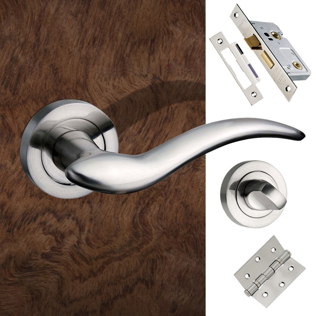 Barcelona Mediterranean Bathroom Lever On Rose - Satin Nickel Handle Pack