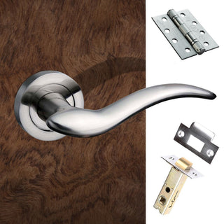 Image: Barcelona Mediterranean Fire Lever On Rose - Satin Nickel Handle Pack