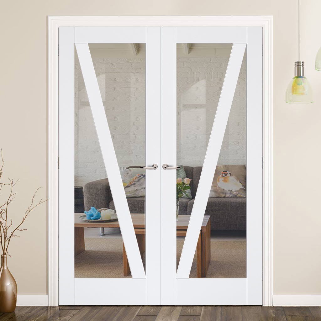 Barn Style Door Pair - Clear Glass - White Primed