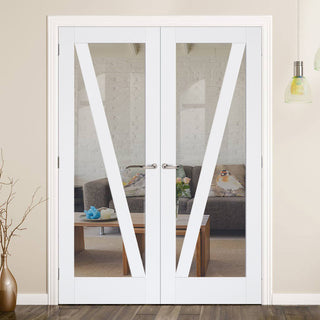 Image: Barn Style Door Pair - Clear Glass - White Primed