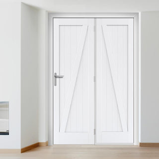 Image: ThruEasi Room Divider - Barn Style White Primed Door with Single Side - 2018mm High - Multiple Widths