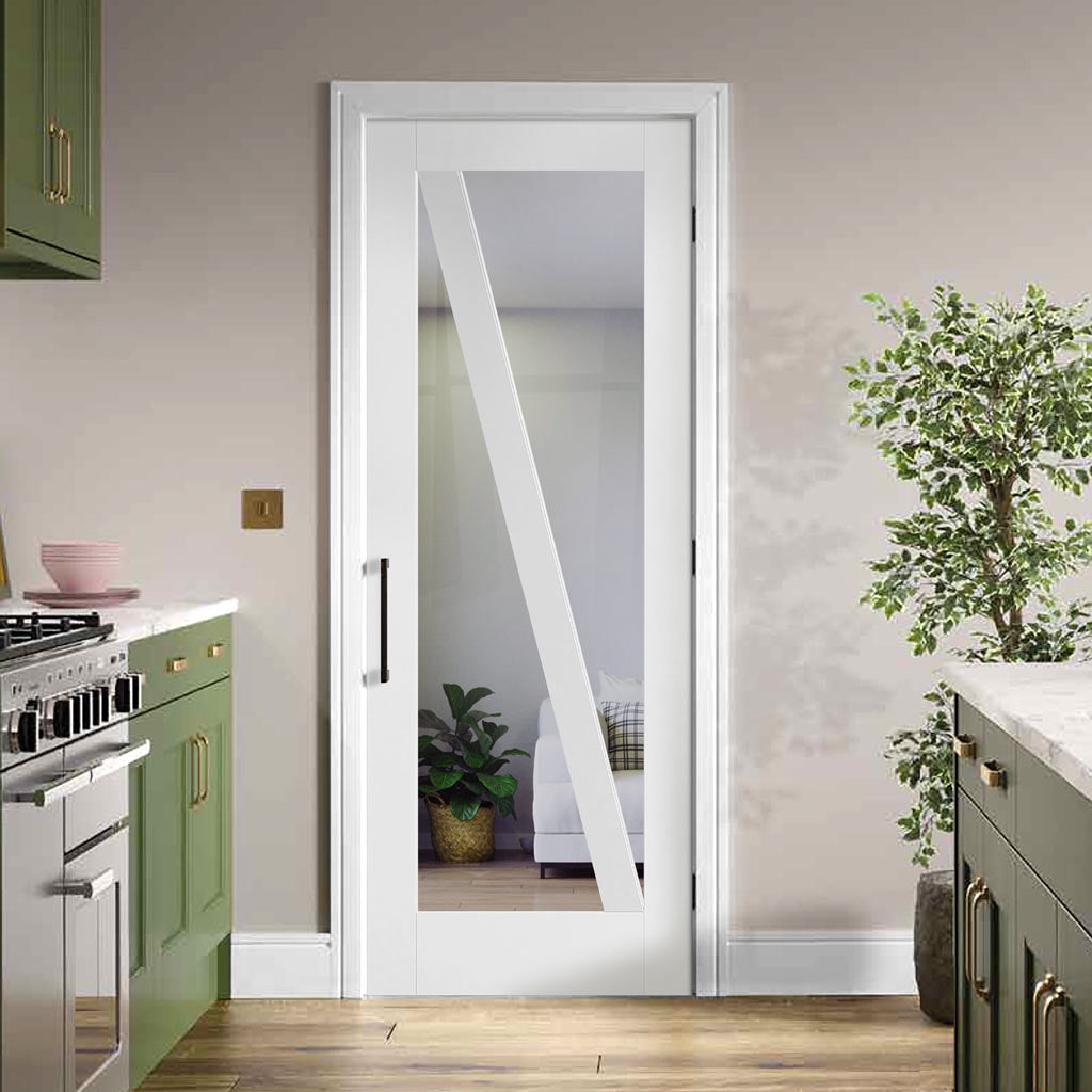 Barn Style Door - Clear Glass - White Primed