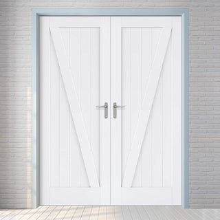 Image: Barn Style Door Pair - White Primed