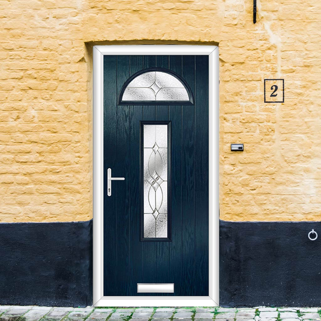 Cottage Style Belize 2 Composite Door Set with Flair Glass - Shown in Blue