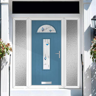 Image: Cottage Style Belize 2 Composite Door Set with Double Side Screen - Murano Blue Glass - Shown in Pastel Blue