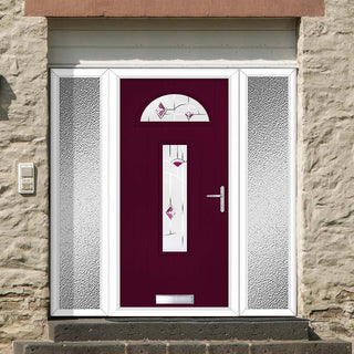 Image: Cottage Style Belize 2 Composite Door Set with Double Side Screen - Murano Purple Glass - Shown in Purple Violet