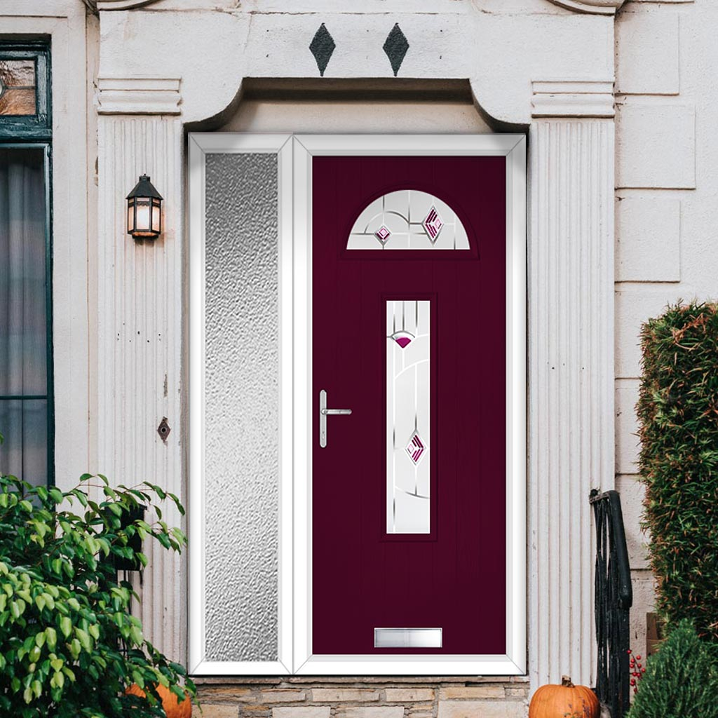 Cottage Style Belize 2 Composite Door Set with Single Side Screen - Murano Purple Glass - Shown in Purple Violet