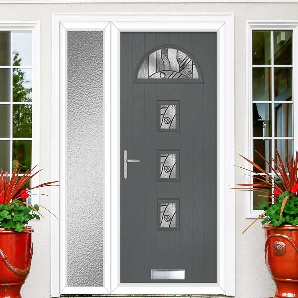 Cottage Style Belize 4 Composite Door Set with Single Side Screen - Abstract Glass - Shown in Mouse Grey