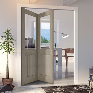 Image: Two Folding Doors & Frame Kit - Belize Light Grey 2+0  - Clear Glass Frosted Lines - Prefinished