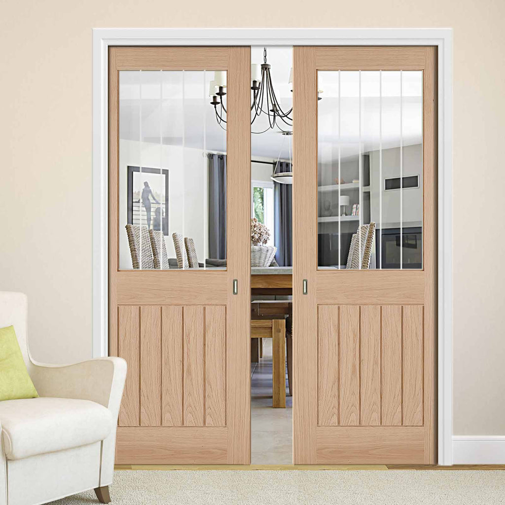 Belize Oak Double Evokit Pocket Doors - Silkscreen Etched Clear Glass