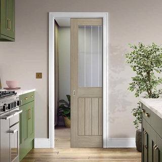 Image: Belize Light Grey Single Evokit Pocket Door  - Clear Glass Frosted Lines - Prefinished