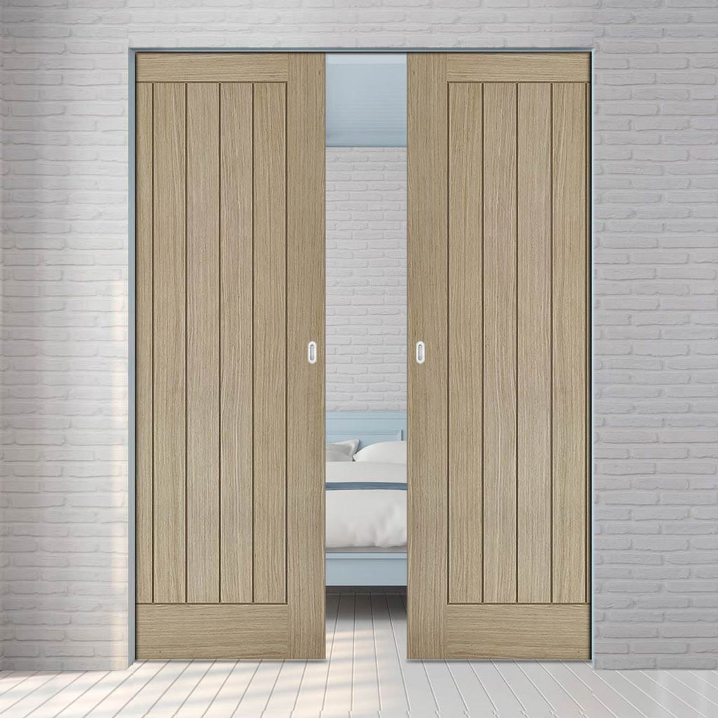Belize Light Grey Absolute Evokit Double Pocket Door - Prefinished