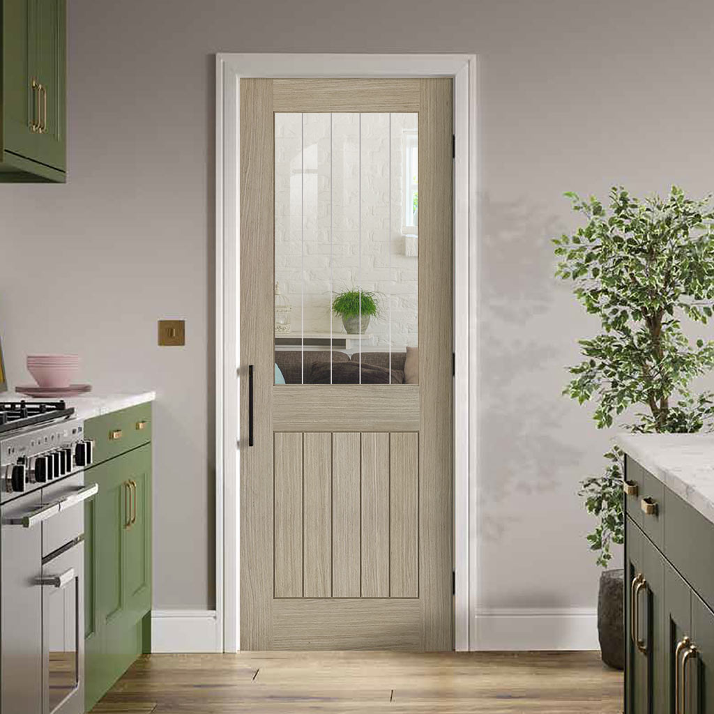 Belize Light Grey Door  - Clear Glass Frosted Lines - Prefinished
