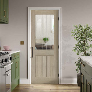 Image: Belize Light Grey Door  - Clear Glass Frosted Lines - Prefinished