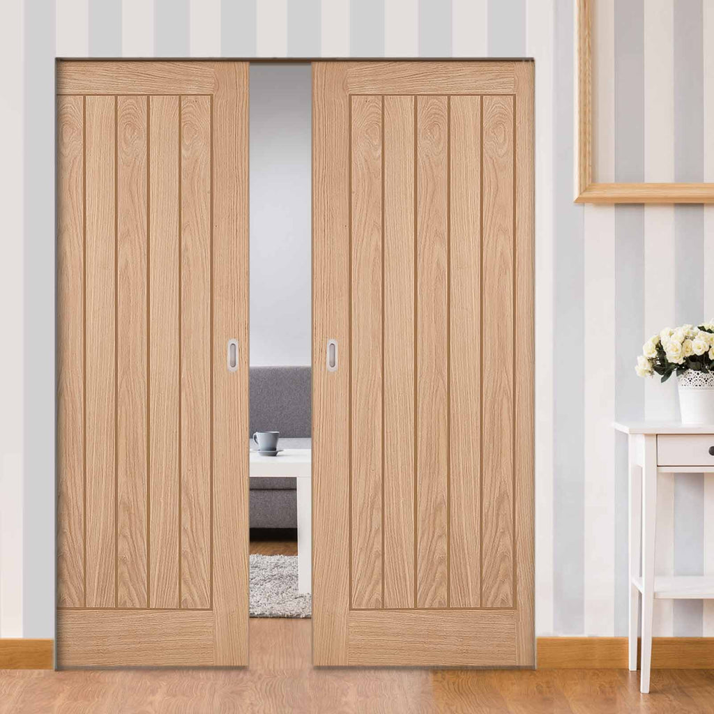 Belize Oak Absolute Evokit Double Pocket Doors - Unfinished