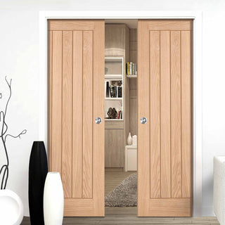 Image: Belize Oak Double Evokit Pocket Doors