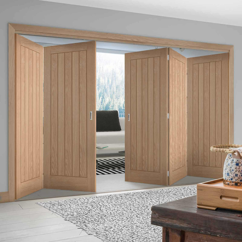 Five Folding Doors & Frame Kit - Belize Oak 3+2 - Unfinished