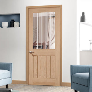 Image: Belize Oak Door with Silkscreen Etched Clear Glass