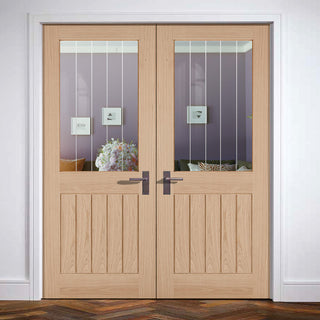 Image: Belize Oak Door Pair - Silkscreen Etched Clear Glass