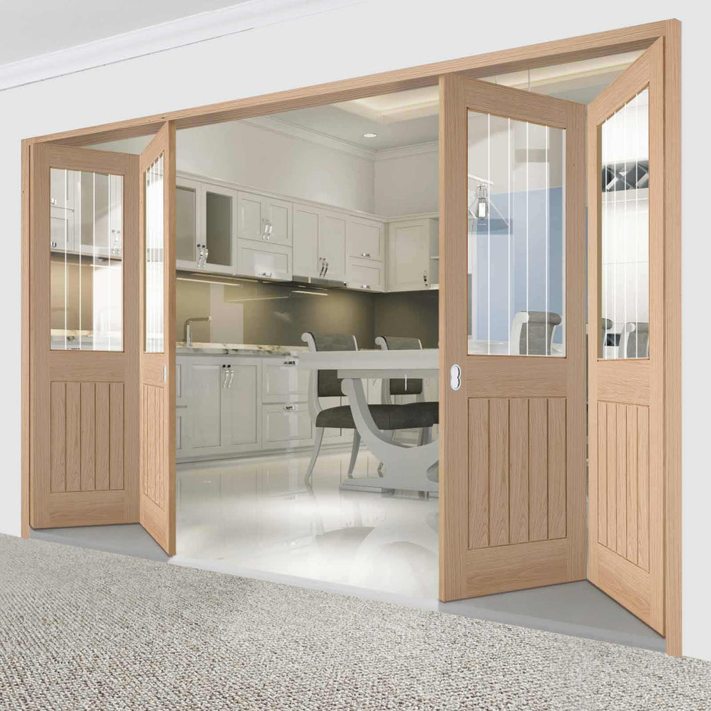 Four Folding Doors & Frame Kit - Belize Oak 2+2 - Silkscreen Etched Clear Glass - Unfinished
