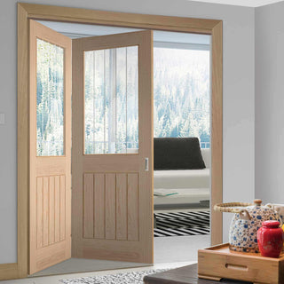 Image: Two Folding Doors & Frame Kit - Belize Oak 2+0 - Silkscreen Etched Clear Glass - Unfinished