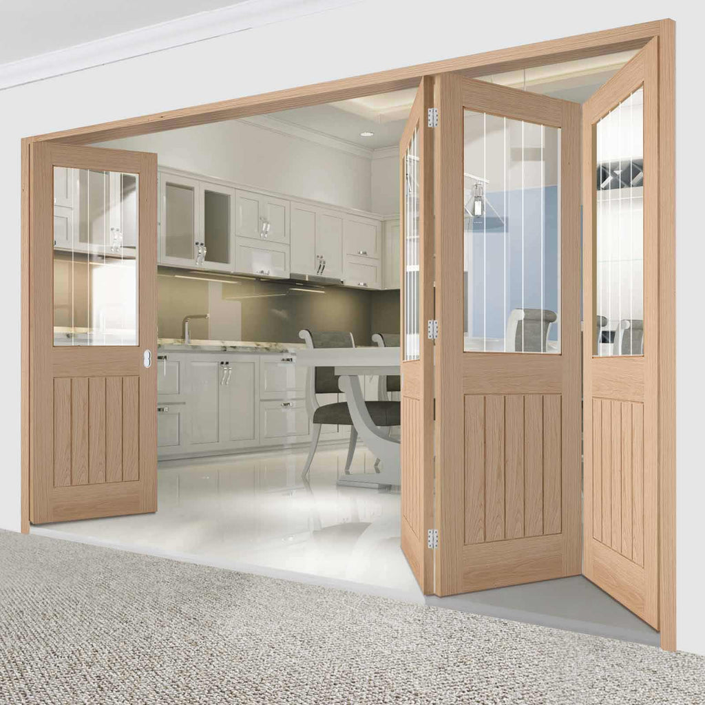 Four Folding Doors & Frame Kit - Belize Oak 3+1 - Silkscreen Etched Clear Glass - Unfinished